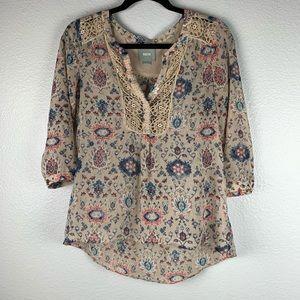 Anthropologie Maeve Viola Crochet Trim Blouse